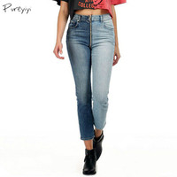 Women Jeans Skinny Front Back Zipper Low Waist Fashion Bleached Denim Trousers Full Length Zippers Jeans Plus Size XL