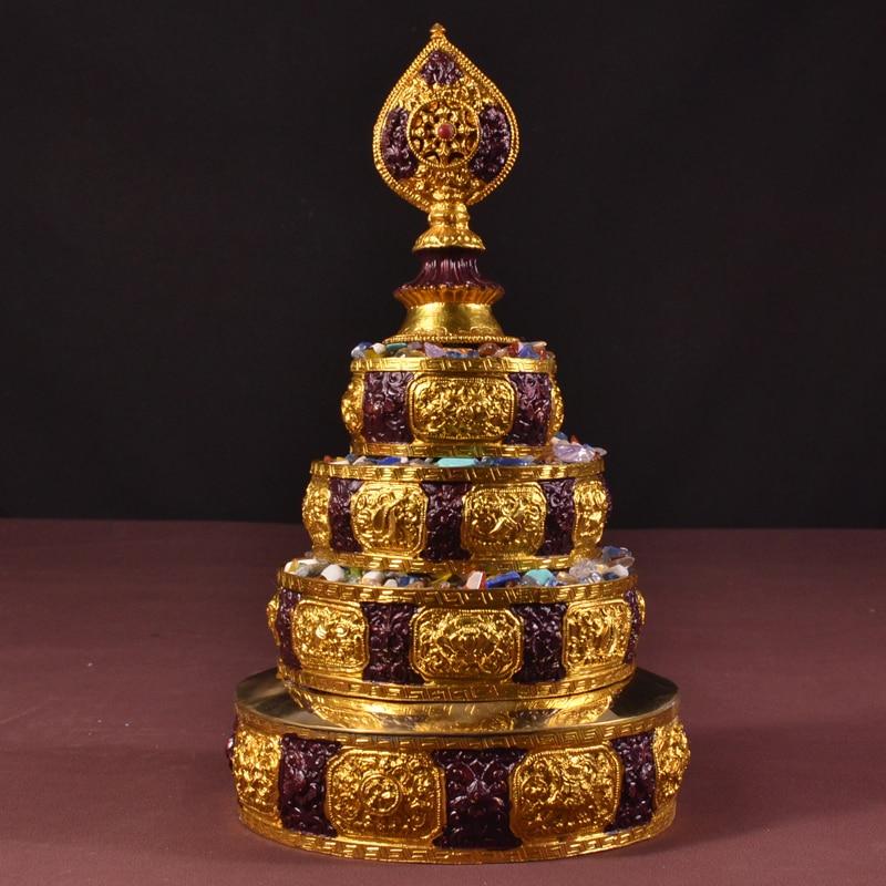 """فريدة من نوعها نيبال اليدوية منزا صينية ، الأحجار الكريمة تقديم السلطانية ، مع اللوحة """"ثمانية الميمون الرموز البوذية"""" ، ل بوذا الصلاة-في الأوعية والأطباق من المنزل والحديقة على  مجموعة 1"""
