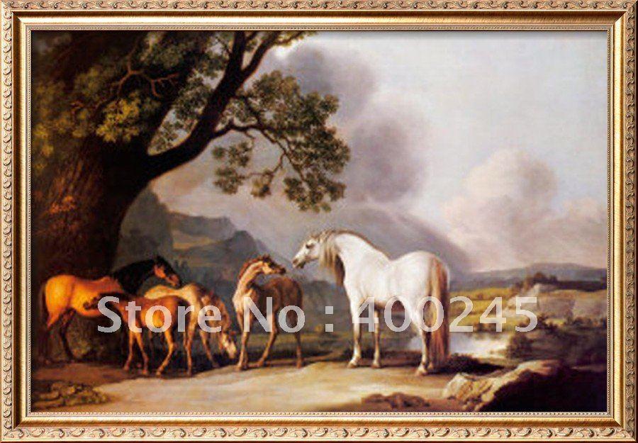 Лошади художественная живопись для подарка серый жеребец с корами и жеребенками от Джорджа стаббса холст ручной работы высокого качества