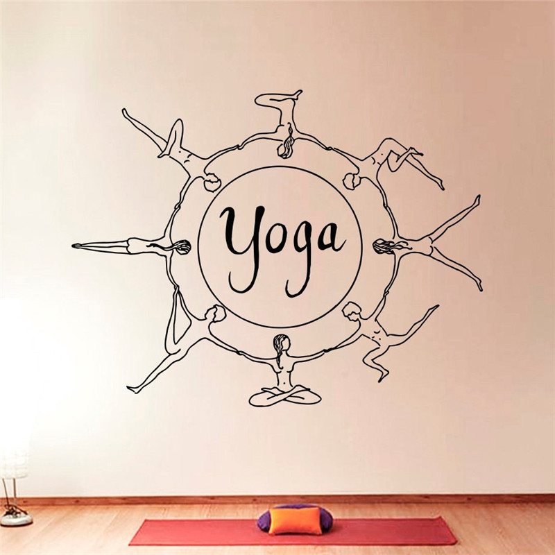 Free shipping Yoga series of art design unique decorative wall stickers Home Furnishing vinyl wall mural home decor mural in Wall Stickers from Home Garden