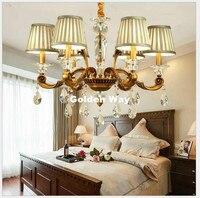 European Modern Bronze Crystal Chandelier Living Room Lamps Dining Room Bedroom Nordic Retro Chandelier Lighting 100% Guaranteed