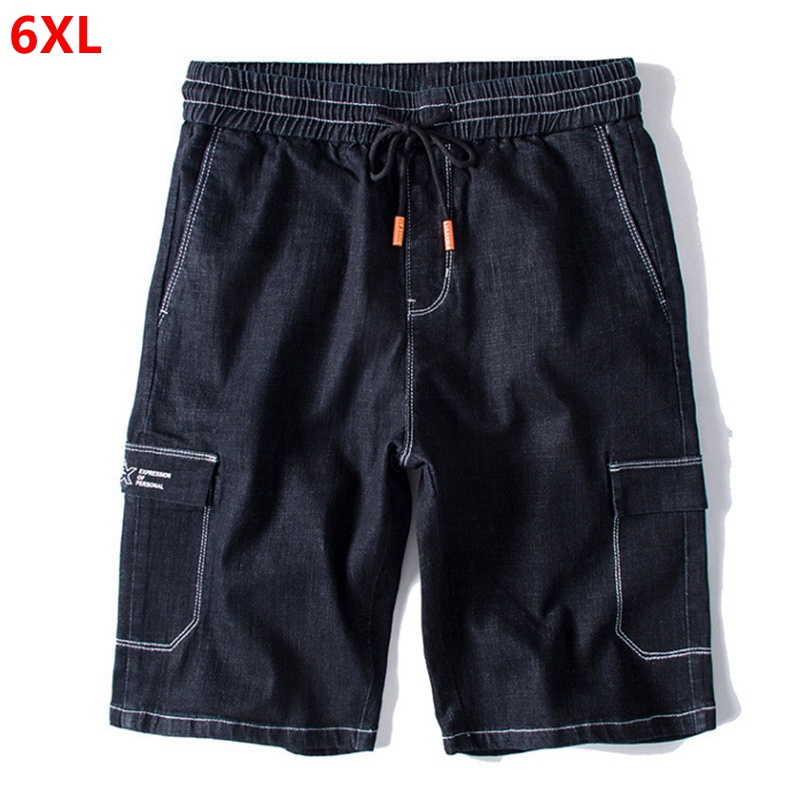 Summer Elastic Waist Plus Size Denim Shorts Men's Cropped Trousers Loose  Men's Printing Casual Shorts Tide 5XL 6XL