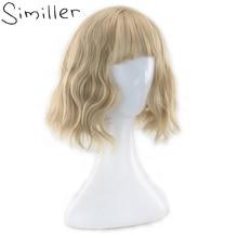 Similler Женские Короткие парик кудрявый вьющиеся светлые Синтетические волосы с бахромой Накладные чёлки высокое Температура Волокна пушистый для вечеринки