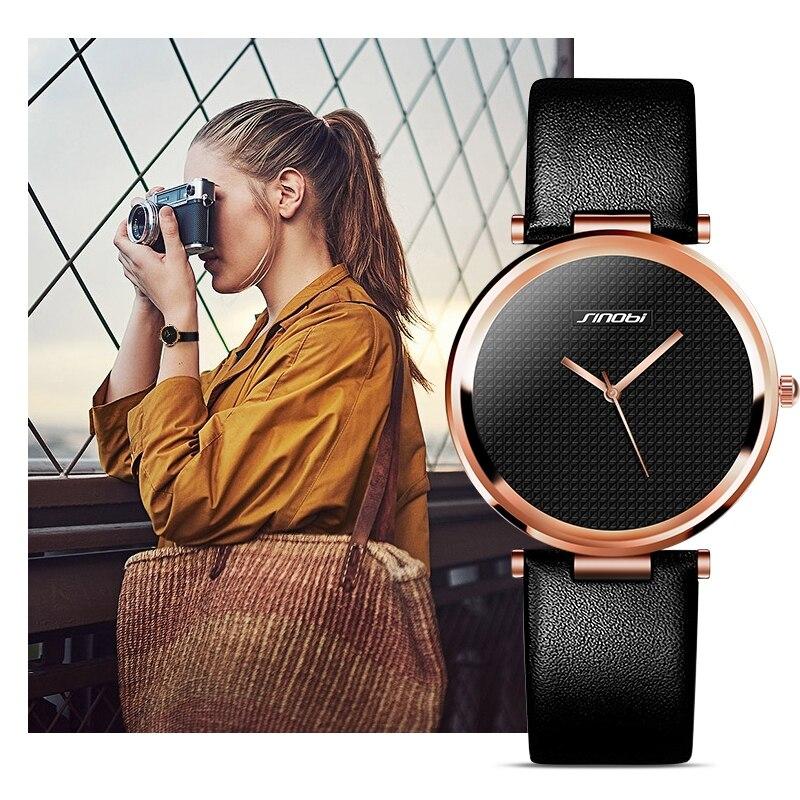 SINOBI Fashion Women Golden Wrist Watches Leather Luxury Brand Ladies Quartz Watch Clock Montres Femmes fashion minimalism ladies women rhinestone watch golden ceramic wrist watches items 1oey k882
