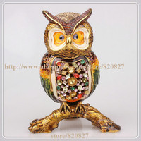 Beautiful OWL Crystal Studded Pewter Jewelry Trinket Box With Gift Box Owls Perched On Tree Log