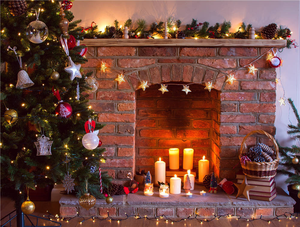 Christmas Fireplace Photography Background Vinyl Candle Kids Photo Backdrops for Studio 7x5ft or 5X3ft Christmas122