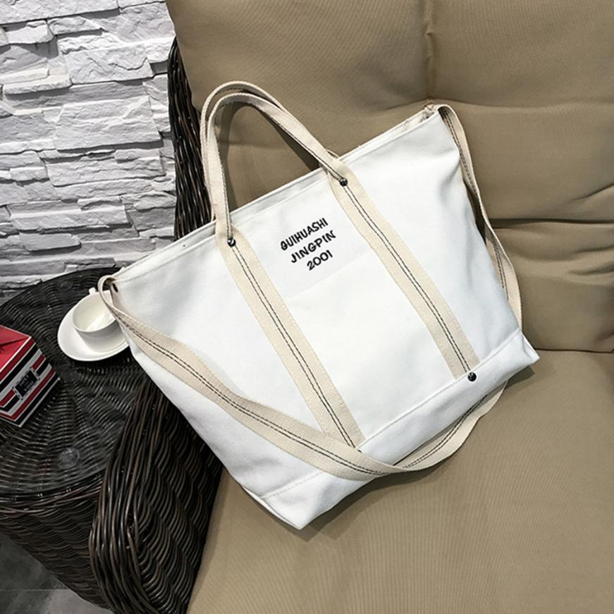 Women's Letter Canvas Cross Body Bag Shoulder Bag Women's Solid Color Zipper Bucket Bag Tote Bag #F