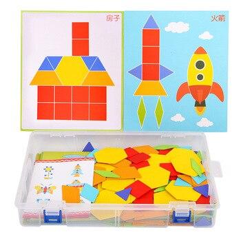 170 sztuk/zestaw kolorowe drewniany tangram Puzzle zabawki geometryczny kształt gra zabawna kreatywność Jigsaw dla dzieci dla dzieci w wieku przedszkolnym zabawki edukacyjne