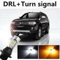 Chita para mitsubishi pajero sport drl daytime running light & lâmpada de xenônio branco + âmbar ligue luz de sinalização frete grátis