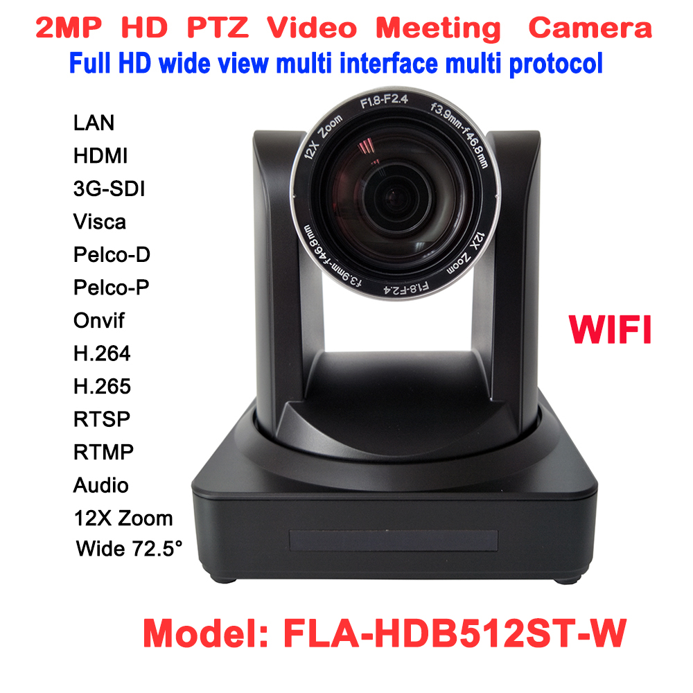 2MP 1080P Video Conferencing Rj45 IP Stream ptz wireless camera 12x optical zoom 60fps With HDMI 3G-SDI Outputs image