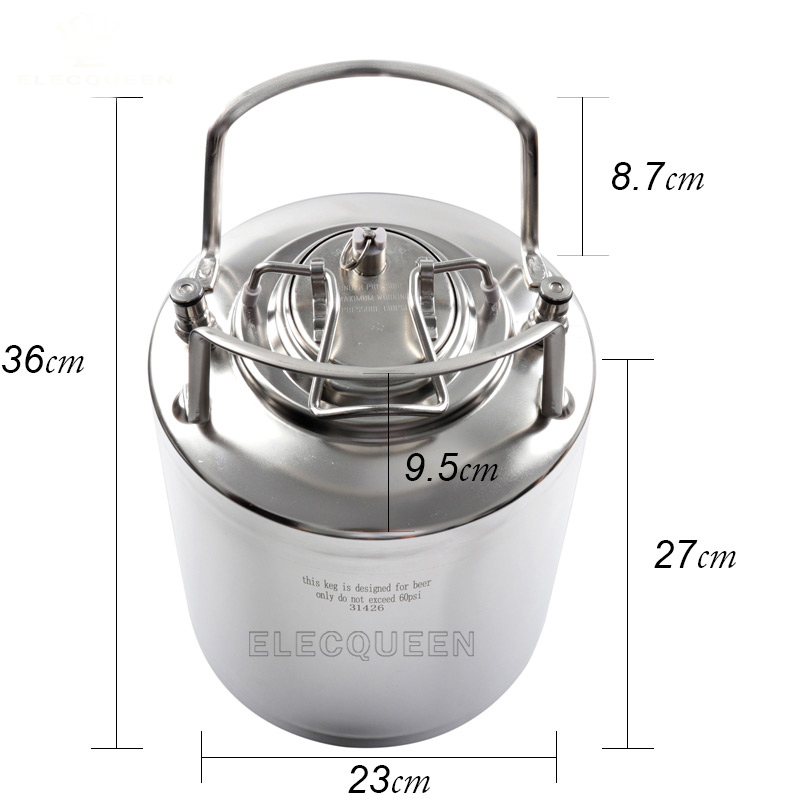 10L 2.5 Gallon Cornelius Style Stainless Steel Beer OB Keg With Metal Handles + Ball Lock Disconnect Liquid(out) & Gas(in)-in Beer Brewing from Home & Garden    3