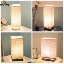 Modern Linen LED Table lights Living Room Lamps Fixtures Light Bedroom Bedside Lamp Wood Home Decor Luminaire