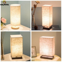 Modern Linen LED Table lights Living Room Lamps Table Fixtures Table Light Bedroom Bedside Lamp Wood Home Decor Luminaire Table