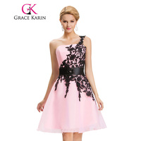 Party Prom Ball Gown Grace Karin CL4288 One Shoulder White Pink Yellow Blue Short Prom Dresses