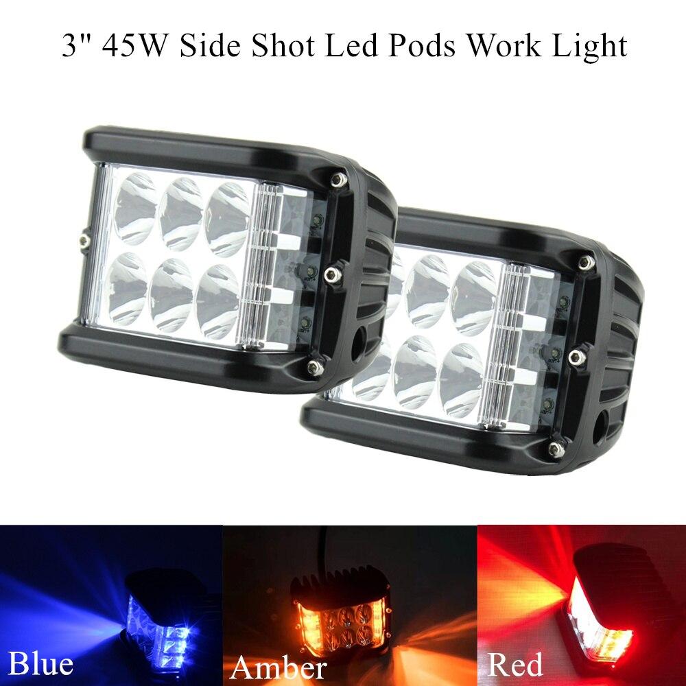 2 x Flashing Blue Red 45W Side Shot Pod Cubes Led Work Light Off Road LED light Driving UTV RZR Truck For Jeep Hummer Offroad