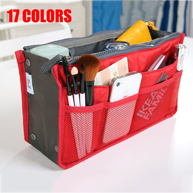 Household Cosmetic bag women/men Organizer Handbag 17 colors Multifunction practical Storage bag make up bag Insert handbagHousehold Cosmetic bag women/men Organizer Handbag 17 colors Multifunction practical Storage bag make up bag Insert handbag