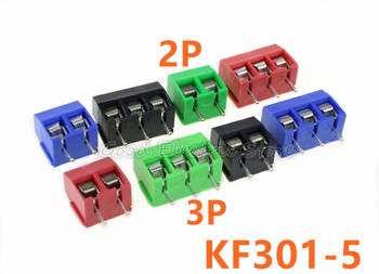 Free shipping 20Pcs/lot KF301-5.0-2P KF301-3P Pitch 5.0mm Straight Pin 2P 3P Screw PCB Terminal Block Connector Blue GREEN RED 10 pcs kf301 3p screw 5 0mm terminal block 3 pin spliceable pcb terminal block connector