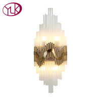 Youlaike Modern LED Wall Lamps Luxury Bronze Wall Light Sconces Bedside Living Room Reading Crystal Light