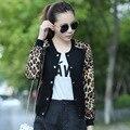 Novo 2016 mulheres nacional do vento de Outono Leopardo impressão patchwork curto fino Casaco Casuais Outwear casaco do uniforme mulheres cardigans