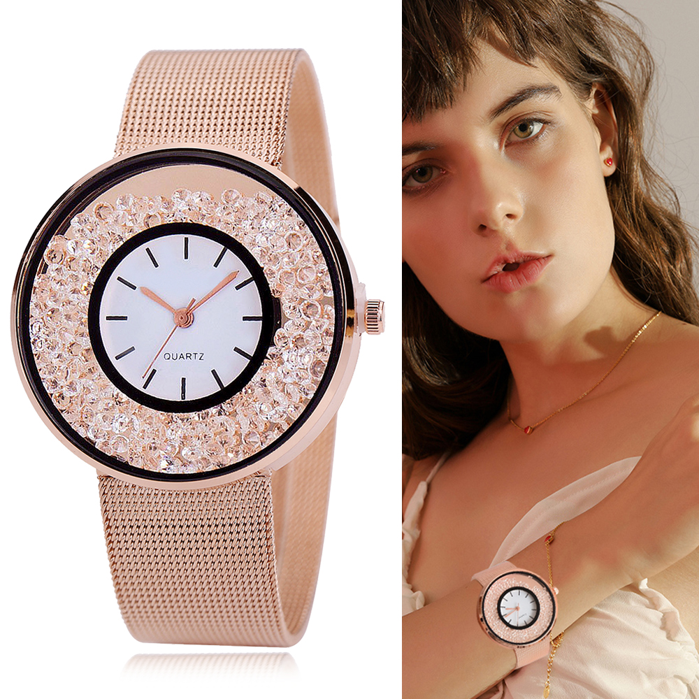 Hot Sale Fashion Stainless Steel Rose Gold & Silver Band Quartz Watch Luxury Women Rhinestone Dress Watches Dropshiping