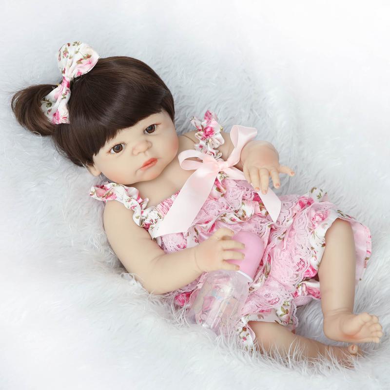 57 سنتيمتر سيليكون تولد الدمى الفينيل الكامل تولد الفتيات يمكن الاستحمام لعب reborn baby مع الشعر دمى bonecas اليدوية