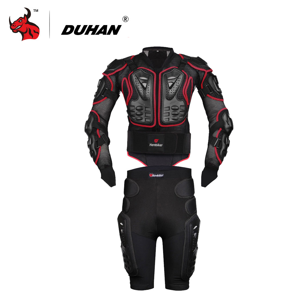 HEROBIKER Motorcycle Jackets Moto Motocross Racing Motorcycle Body Armor Protective Jacket+Gears Shorts Pants Red S-5XL herobiker armor removable neck protection guards riding skating motorcycle racing protective gear full body armor protectors