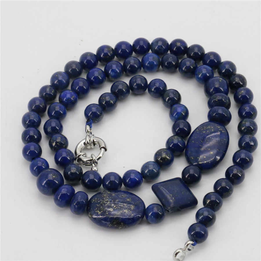 "New Classic Egyptian Lapis Lazuli Stone Chain Beads Necklace Accessories parts Women gift banquet jewelry collocation 18"" xu37"
