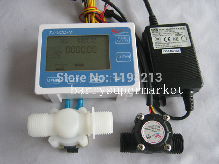 Water Flow Meter flowmeter hall flow sensor indicator Counter LCD display+ Flow Sensor + Solenoid valve +Power Adapter DN15 G1/2