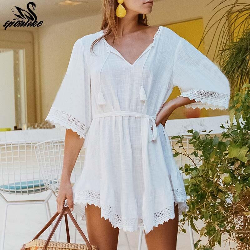 c25da362780 2019 бикини белое пляжное платье Saida de Praia Хлопок Пляжная накидка  кафтан пляжное парео de Playa Mujer кружевной купальник