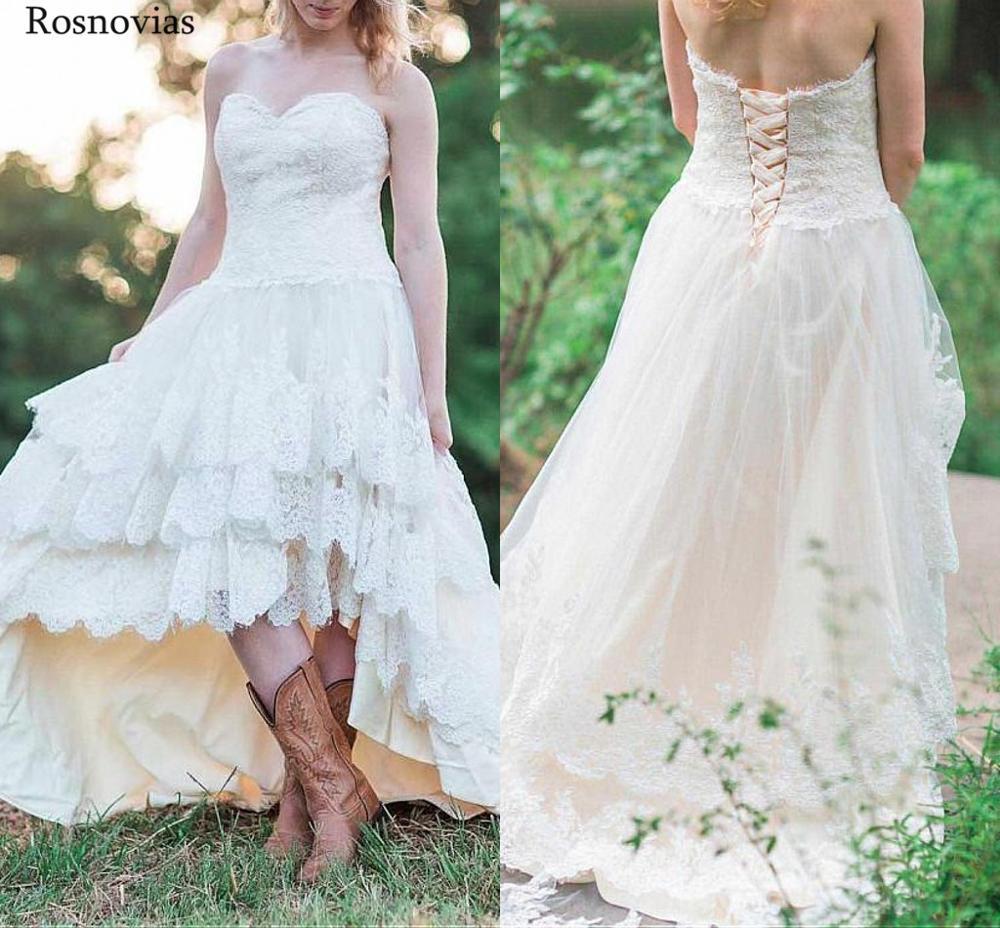 2019 robes De mariée en dentelle De pays à lacets jupes à plusieurs niveaux haut bas Appliques modestes robes De mariée De jardin Vestido De Novia