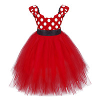 FEESHOW Girls Polka Dots Tutu Toddler Girl Dresses Top Bodice With White Polka Dots Pattern Sash