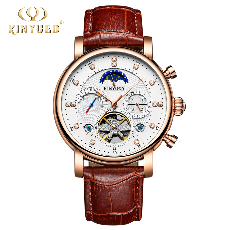 KINYUED Rose Gold Luxury Self-Wind Mechanical Wristwatches Moon Phase  Perpetual Calendar Automatic Skeleton Mens Watch with box k colouring women ladies automatic self wind watch hollow skeleton mechanical wristwatch for gift box