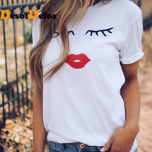 2019 Pretty and cute Eye Lashes Red Lips Print Women t shirt  Summer Casual Short Sleeve O Neck t-shirt Ladies White TShirt Tops