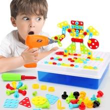 Erkek çocuk oyuncakları elektrikli matkap oyuncaklar simülasyon aracı oyuncak monte maç DIY Model seti eğitim binası oyuncaklar setleri vidalama oyuncaklar