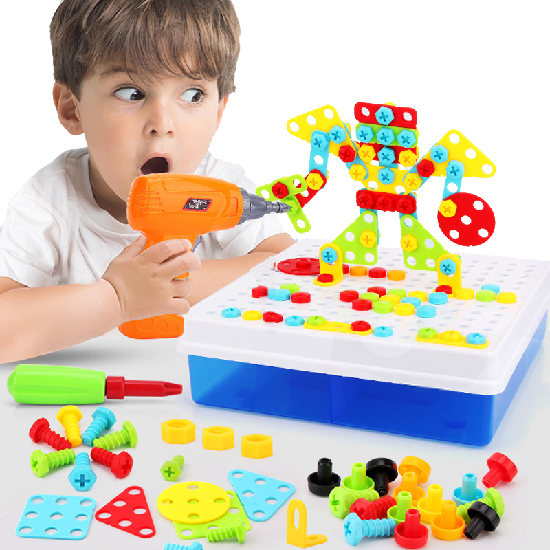 Los niños taladro eléctrico tornillo tuerca rompecabezas juguetes educativos reunidos mosaico diseño juguetes para los niños Juguetes