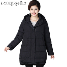 Middle-age Winter Jacket Coat Female Thick Warm Hooded Long Parkas Women Oversize Cotton Padded Outerwear 4XL