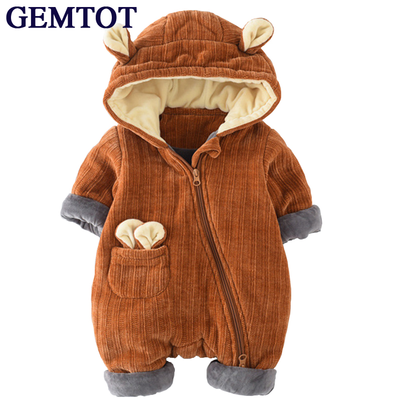 GEMTOT infant baby romper 2017 autumn winter newborn warm clothes zippered hooded rabbit ear stripes toddler Crawling clothing puseky 2017 infant romper baby boys girls jumpsuit newborn bebe clothing hooded toddler baby clothes cute panda romper costumes