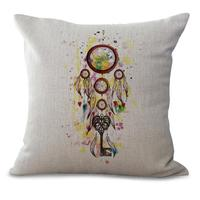 Free Shipping Custom New Throw Pillow Color Dreamcatcher Printing Cotton Linen Decorative Cushion For Home Chair