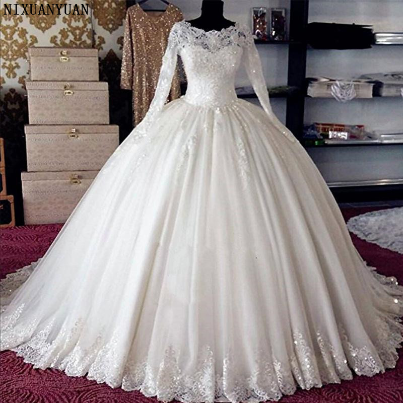 New Designer Ball Gown Wedding Dresses Turkey Vestidos De Noiva Vintage Wedding Gowns Lace Bride Dress 2019 Long Sleeve Gelinlik