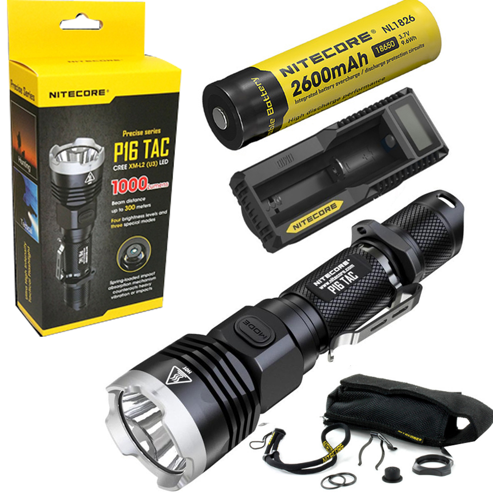 Nitecore P16 TAC 1000 Lumens CREE XM-L2 U3 LED Tactical Flashlight Hunting Search Torchs with 2600mAh 18650 battery and charger lumintop tactical flashlight p16x 18650 flashlight with battery with cree xm l2 led torch type max670 lumens