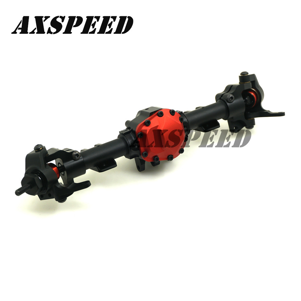 Metal Alloy Front Axle With Gear For RC 1/10 Cars Axial SCX10 II 90046 90047 RC Rock Crawler Car Parts Upgraded shock absorber 100mm for jeep wrangler axial scx10 1 10 rc car crawler upgraded alloy aluminum damper hop up parts 2pcs a pair