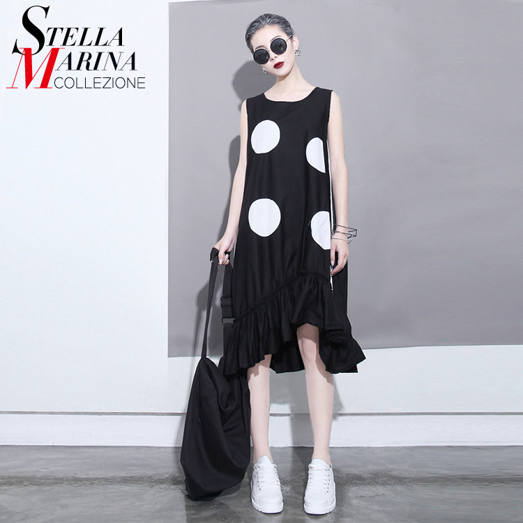 Buy Cheap New 2017 Korean Summer Women Ruffles Chiffon Dress Large Dots Printed Sleeveless Irregular Sun dress Cute Midi Tank Dresses 1193