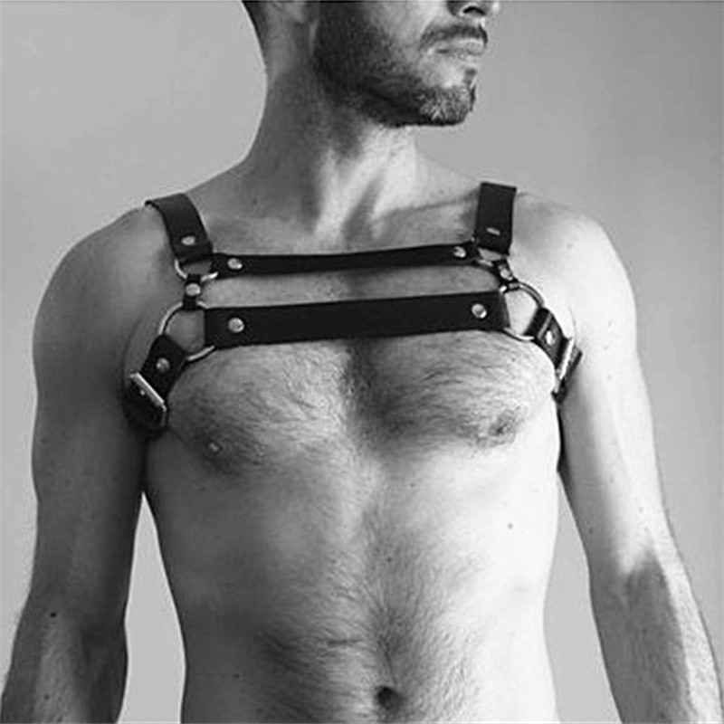 Trendy Punk Chest Harness Belts For Men Metal O Ring Body Bondage Night Club Party Sexy Rock Leather Bondage Harness Belts
