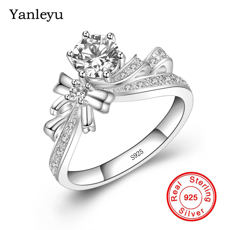90% di SCONTO! Yanleyu Femminile Dell'anello di Cerimonia Nuziale Reale 925 Sterling Silver Ring 6mm Tondo Zircone DELLA CZ Bowknot Anelli di Fidanzamento per Le Donne PR135