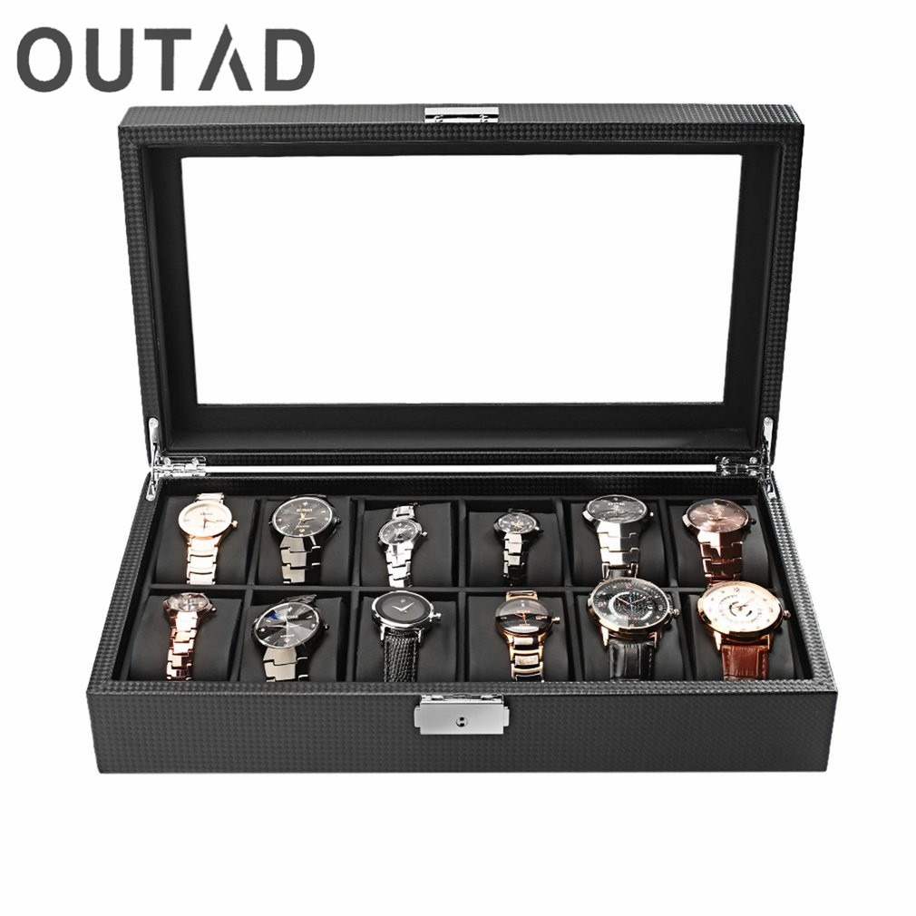 OUTAD 12 Slots Carbon Fiber Jewelry Display Watch Box Case Storage Holder High-Grade Black Large caixa para relogio saat kutusu