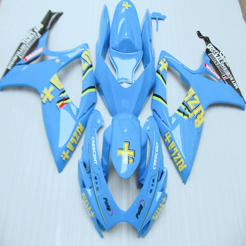 Nn-Glossy flat Blue <font><b>Fairings</b></font> for SUZUKI <font><b>GSXR</b></font> <font><b>600</b></font> 750 2006 <font><b>2007</b></font> K6 GSXR600 GSXR750 06 07 <font><b>fairing</b></font> <font><b>kit</b></font> RIZLA+ scheme image