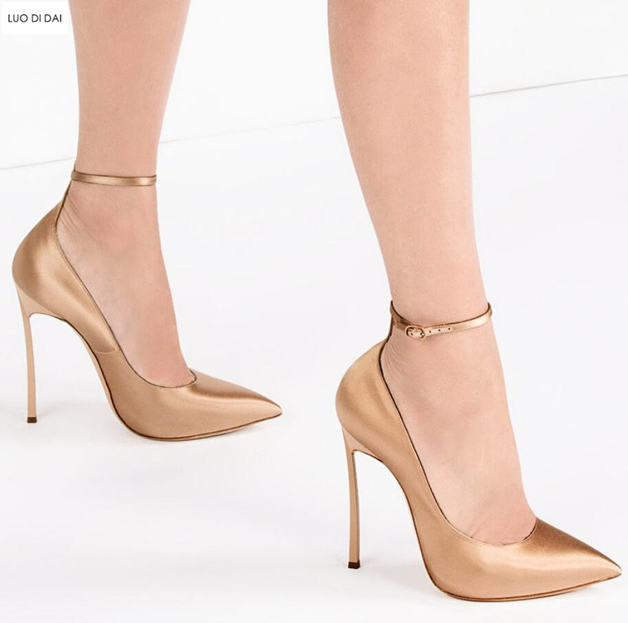 dc129a93f99a07 2019 New women ankle strap high heels thin heel pumps party shoes gold pumps  point toe dress shoes wedding heeled ladies