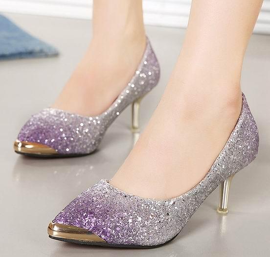 Wedding Silver Heels: Women Pump Fashion High Heels Prom Wedding Shoes Ladies
