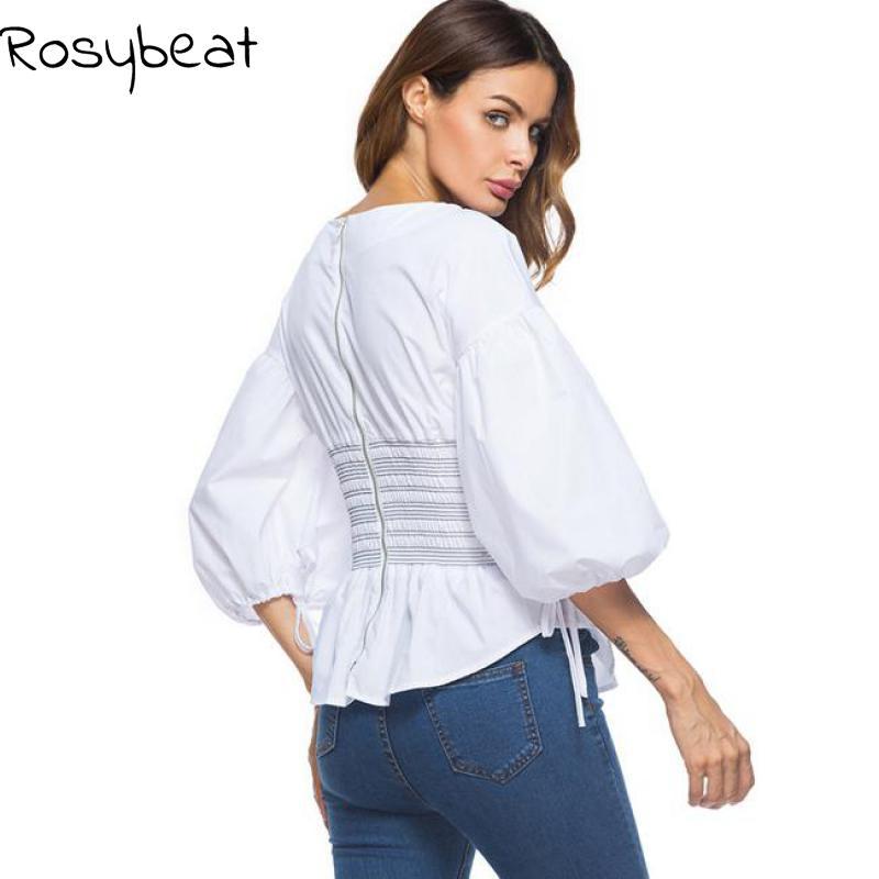 Big Size White Women Solid Color O Neck Shirt Puff Sleeve Large Size Vintage Female Blouse Sashes Tops 2018 Autumn New Fashion