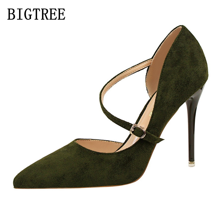 BIGTREE 2017 New Spring Summer Women Pumps Sexy Pointed Toe Party Thin Ladies High Heels woman fashion shoes size34-39 new 2017 spring summer women shoes pointed toe high quality brand fashion womens flats ladies plus size 41 sweet flock t179